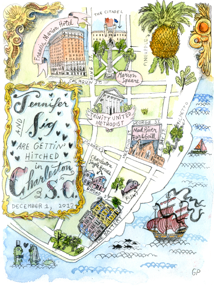 Map Of Charleston By Gant Powell Illustration From